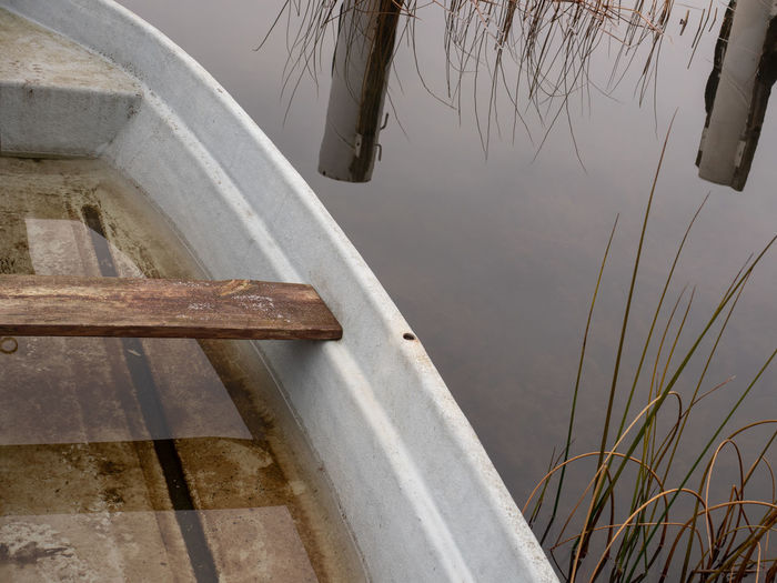 Part of a boat Day No People Nature Plant Water Reflection Lake Wood - Material Outdoors Focus On Foreground Close-up Tranquility Boat Rowing Boat Winter Boats⛵️ Ship