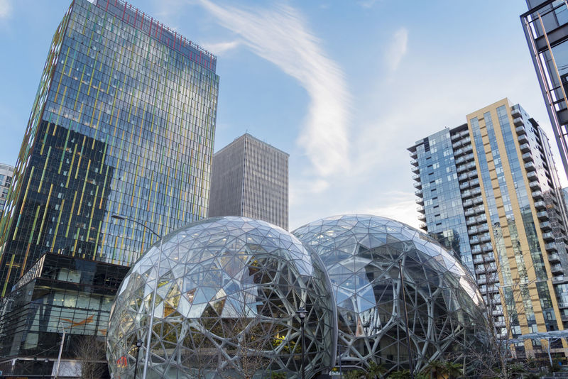 Amazon Spheres located in downtown Seattle at the world headquarters looking up with surrounding towers. Architecture Campus Condominiums Economy Employee Giant Growing Jeff Bezos Modern Shopping Terrariums Amazon Architecture Building Exterior Built Structure City Corporate Business Day Design Editorial  Expansion Green Houses Internet Low Angle View Modern No People Outdoors Sky Skyscraper Spheres Technology World Headquarters