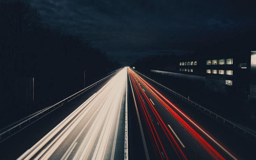 Nightphotography Blurred Motion High Street Illuminated Light Trail Long Exposure Motion Night Road Speed The Way Forward Traffic Transportation
