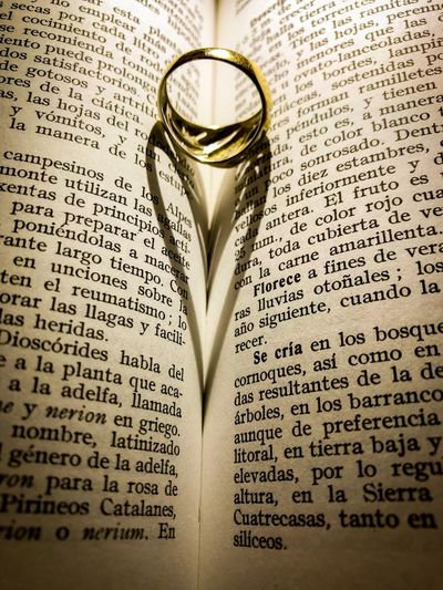 Open Book  Lifestyles EyeEm Best Shots EyeEmNewHere Conceptual Concept Love♥ Heartshape Engagement Round Circlet Ring Heart Shadow Shadow Light And Shadow Romanticism Romance Romantic Heart Shape Heart Love In Love Book Text Page Love Wedding Paper No People