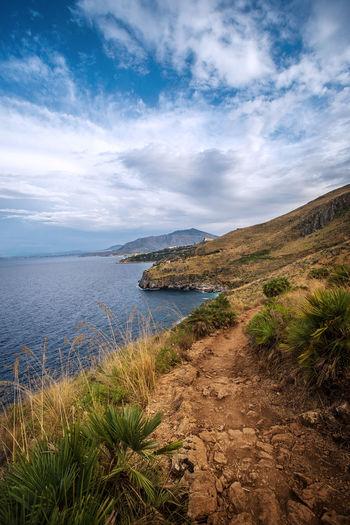 High angle view of coastline