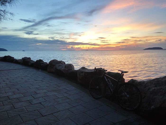 Sunset Bicycles Biking Beach Travel Park Waves, Ocean, Nature Morning Light Excersise  Vacation