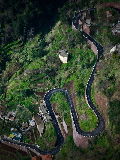 Aerial View High Angle View Madeira Road Snakeroad Winding Road