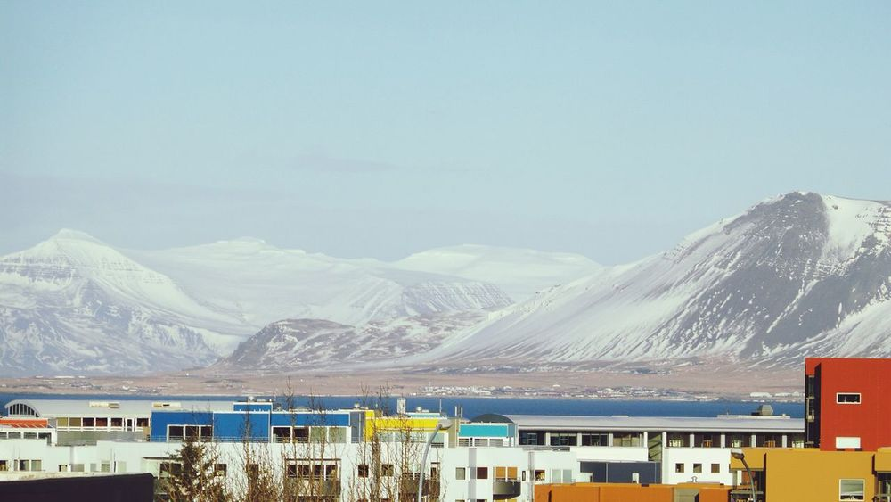 No People Mountain Range City Reykjavik Iceland Nature Vs City