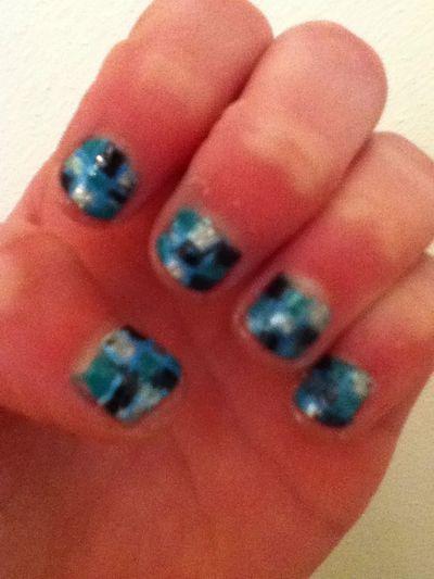 #nails#stripes#blue#green#ya