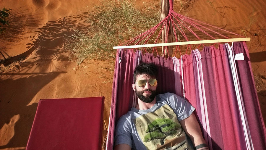 Selfie-millionaires That's Me Hammock Desert Life Desert Beauty Enjoying Life Enjoying The Sun Relaxing Taking Photos Selfie ✌ Self Portrait - Merzouga Dunes Of Merzouga Erg Chebbi Morocco Africa