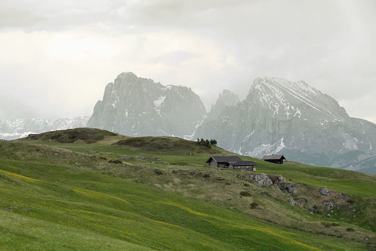 Dolomites II EyeEmNewHere Beauty In Nature Dolomites Dolomites, Italy Hiking Lush - Description Meadow Mountain Mountain And Sky Mountains Mountains And Clouds Mountains And Hills Mountains And Hut Mountains And Sky Mountains And Snow Nature No People Outdoors Sky Snow