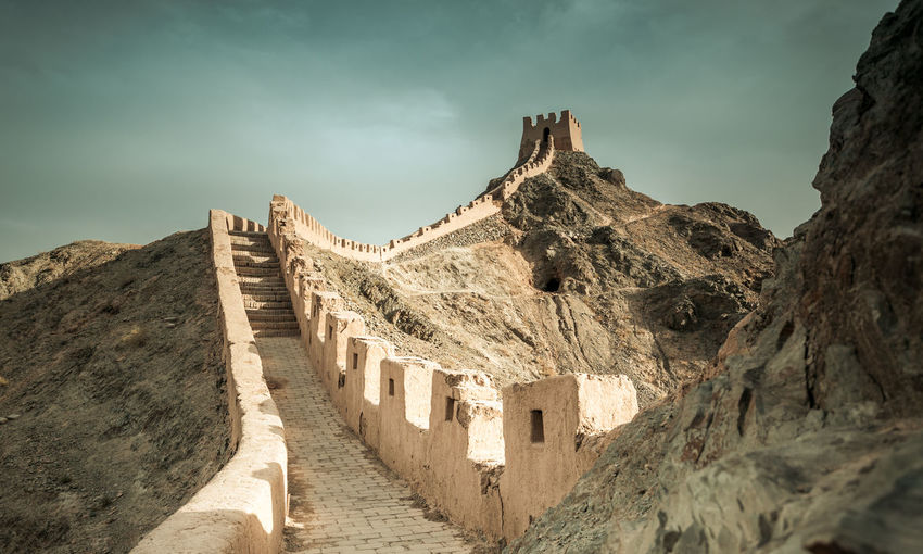 Jiayuguan Great Wall of Ming dynasty, Gansu China Ancient Architecture Border Brick China Corridor Culture Defense Famous Fort Great Wall Heritage History Landmark Landscape Ming Dynasty Mountain Protection Rock Sections Sky Structure Tourism Tower Wonder
