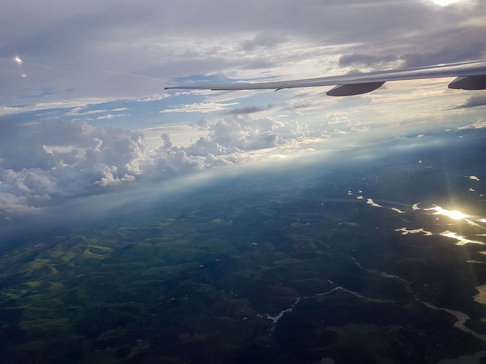Aerial View Cloud - Sky Beauty In Nature Scenics - Nature Sky Environment Nature Airplane Air Vehicle No People Landscape Tranquility Tranquil Scene Water Sea Idyllic Day Outdoors Travel