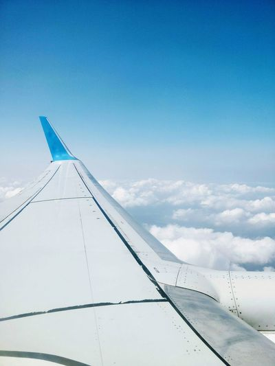 Sky Cloud - Sky Blue No People Day Landscape Outdoors Airplane Nature Copy Space Airport Travel Transportation Commercial Airplane Air Vehicle Wing Window View Clouds Clouds And Sky Traveling Flight EyeEm Selects