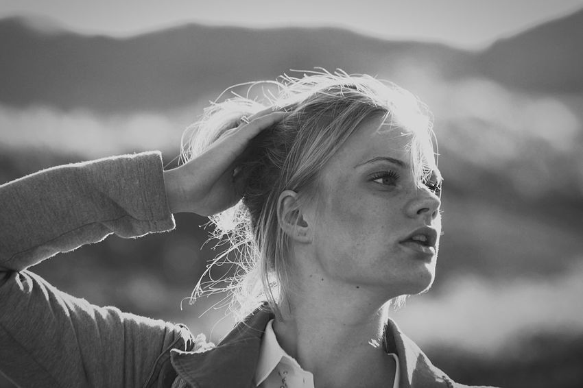 Blick in die Ferne Sylt Blackandwhite Blick In Die Ferne Beautiful Woman One Person Young Adult Focus On Foreground Young Women Headshot Outdoors Blond Hair People Nature Real People Day Close-up Portrait