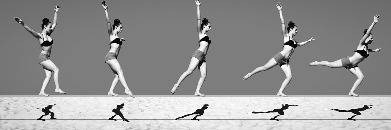 "Muybridge on the beach of Tel Aviv - ""Time flies over us, but leaves its shadow behind."" Nathaniel Hawthorne Bnw_friday_eyeemchallenge Capture Time Time Timepass Repetition Repetitive Silhouettes Silhouette Balance Balancing Act Balance And Composure Composition Minimal Minimalism Minimalobsession Minimalist Muybridge Bodyart Body & Fitness Body Language Open Edit Leading Line Slackline Sand Shadows"