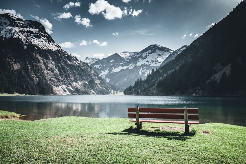 Am Vilsalpsee Mountain Mountain Alps Tannheimer Tal Alpen Österreich Austria Tannheimer Tal Vilsalpsee EyeEm Selects Mountain Beauty In Nature Plant Seat Scenics - Nature Tranquility Nature Bench Tranquil Scene Lake Mountain Range Sky Day Water Grass Idyllic Outdoors