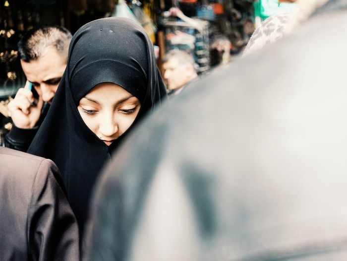 Young Woman Wearing Hijab In City