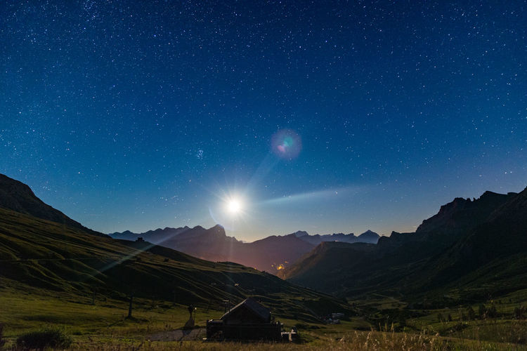 Scenic view of landscape during night