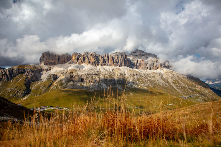 View to Sella Group from the south. Arabba Dolomites Dolomites, Italy Nature Rock Formation Sella Group Dolomites Alps Cloud - Sky Clouds And Sky Dolomiti Mountain Peak No People Passo Pardoi Piz Boe Pordoi Pass Rock - Object Sass Pordoi Sella Sky Unesco World Heritage