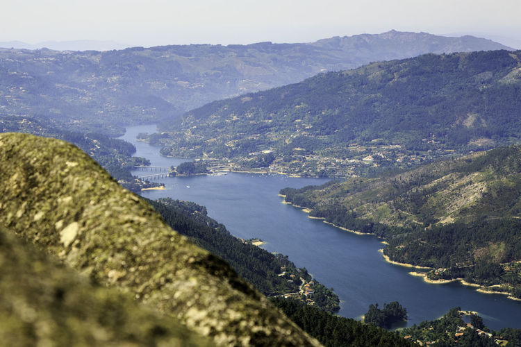 Water Mountain Beauty In Nature Scenics - Nature Tranquility Tranquil Scene Nature Sea No People Day Tree High Angle View Sky Plant Outdoors Land Environment Idyllic Mountain Range Bay Gerês Portugal