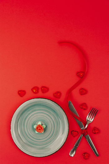 High angle view of red wine on table