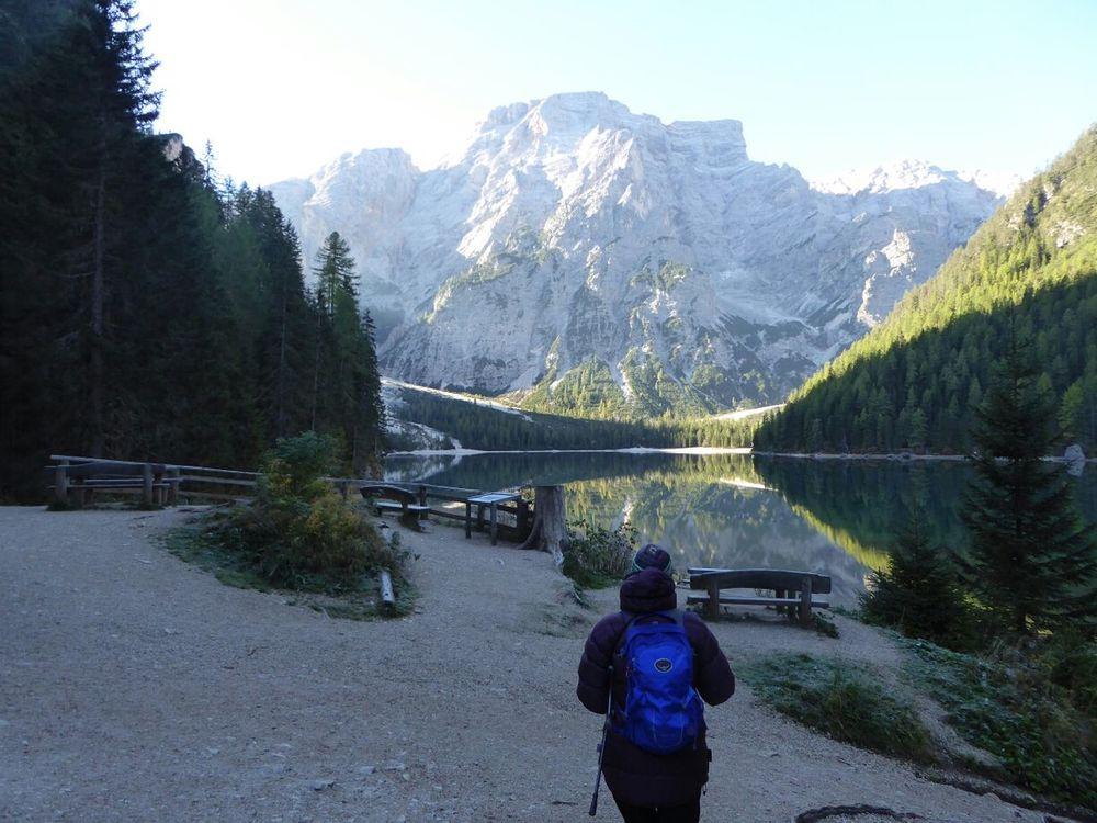 Lago Di Braies Beautiful Day Morning Walk Morning Reflections