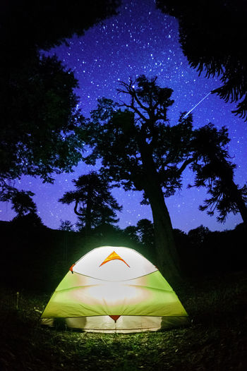 Tent On Field At Night
