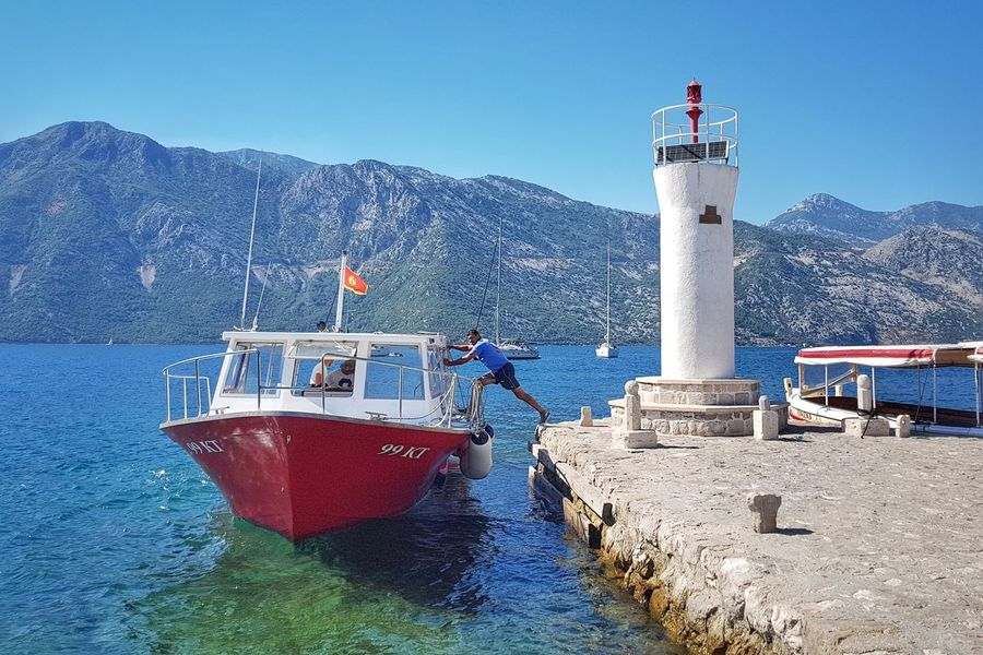 Lighthouse Nautical Vessel Blue Water Sea Outdoors Nature Travel Destinations Seaview Seascape Boat Montenegro PERAST Our Lady Of The Rocks Island Your Ticket To Europe