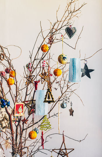 High angle view of decoration hanging on tree