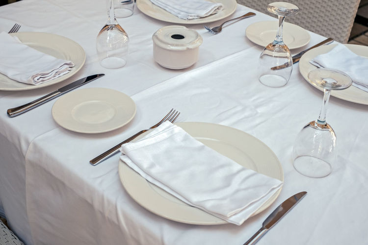 High angle view of place setting on table