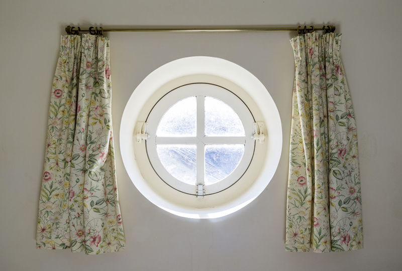 Round Shaped Porthole Window Architecture Close-up Curtains Fashioned Old Room Round Shape Shaped Style Window
