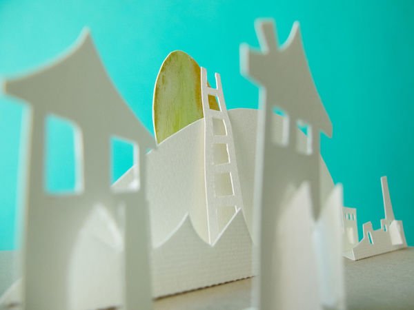Blue Sky City Craft Houses Paper Paper Town Town