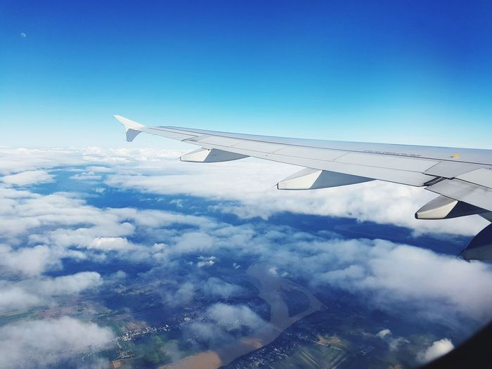 Aircraft wing over clouds seen though window