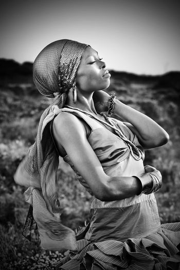 A portrait under the wonderful African sun! EyeEm Best Shots - Black + White Blackandwhite Portrait Fashion Photography Living Bold Outdoors Africa Environment Portraiture B&W Portrait