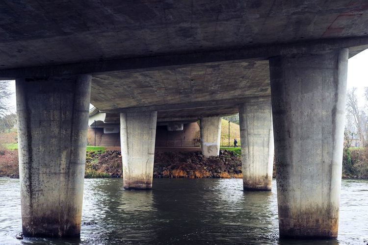 Under the bridge and dreaming Underneath Under Water Architectural Column Below Bridge - Man Made Structure City Architecture Built Structure