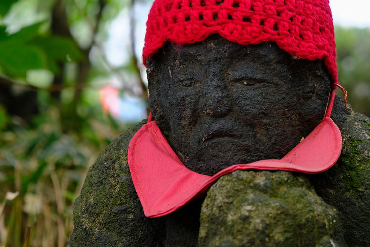 Close-up Focus On Foreground Fujifilm Fujifilm X-pro2 Fujifilm_xseries Japanese Culture Japanese Temple Jizou Nature Old Statue Part Of Red Statue Street Photography Streetphotography Takahata Fudoson Temple Temple XF18-55mm