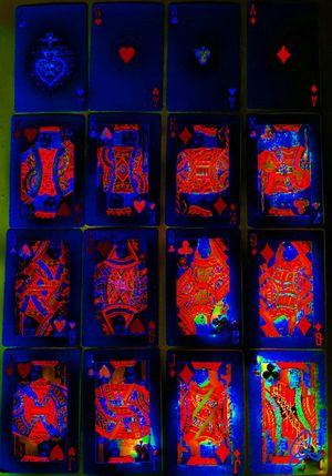 """""""Cards"""" Art Photography Artphotgraphy Pivotal Ideas Colorful Colors Color Effect Blacklight Blacklighteffect Blacklight Effect Cards Card Facecards Ace Aces King Kings Queen Queens Jack Jacks Blue Red Playing Cards The Magic Mission"""
