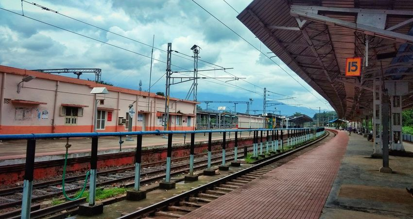 Railway Station... Railroad Track Rail Transportation Cloud - Sky Railroad Station Platform Architecture Art Is Everywhere Palakkad Kerala India 👽👽 👽 Rainy Days☔ Vintage