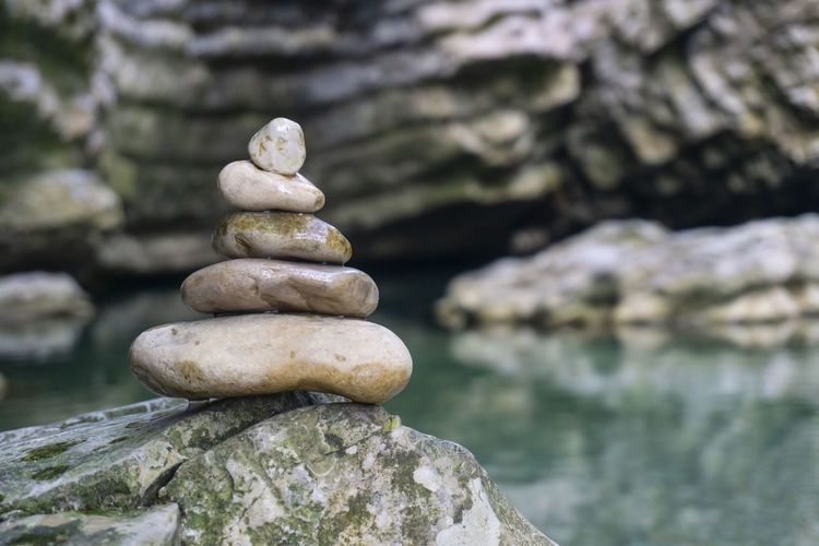 Stack of stones in sea