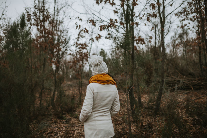 Into The Woods Into The Wild Intothewild Nature Nature On Your Doorstep White Yellow Rear View Tree Forest Land One Person Lifestyles Leisure Activity Winter White Color WoodLand Warm Clothing Hood - Clothing Day Outdoors Clothing Real People