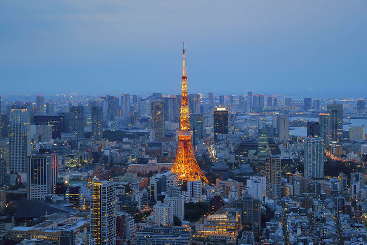 Tokyo Tower at sunset dusk Architecture Building Exterior Business Finance And Industry City Cityscape Cultures Downtown District Night No People Outdoors Sky Skyscraper Tokyo Tokyo Tower Tourism Tower Travel Travel Destinations Urban Skyline