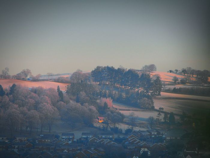 A Frosty Morning from some time ago ... Newtown Powys Light Hill Frost Winter Houses Wales Winter Wonderland