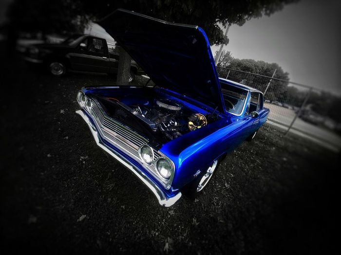 American Muscle Chevrolet Electric Blue Blue CarShow Car Show Muscle Cars Chrome Outdoors Summertime Summer Views American Made Engine Chevy Shine Shine On ✨ Close-up Vehicle Parking Land Vehicle Vintage Car Car Side-view Mirror