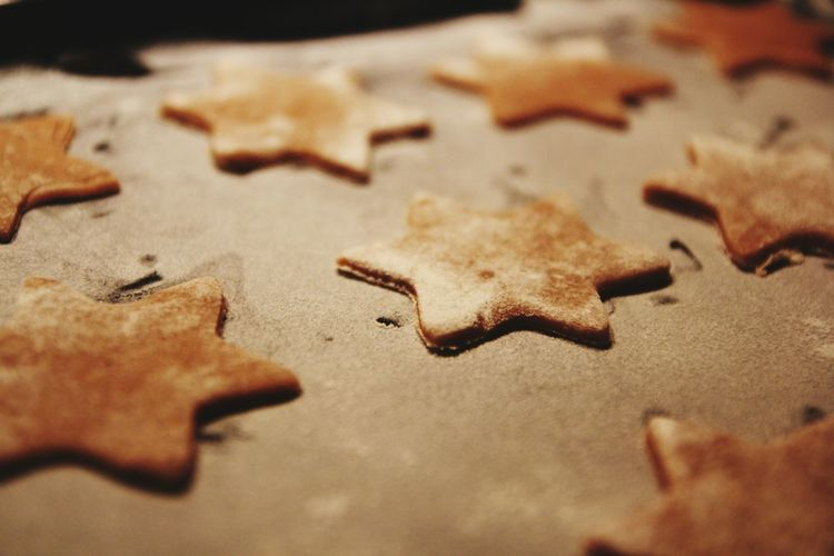 High angle view of star shape chocolate