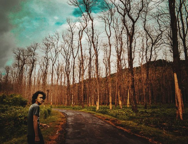 Man Standing On Road By Bare Trees In Forest