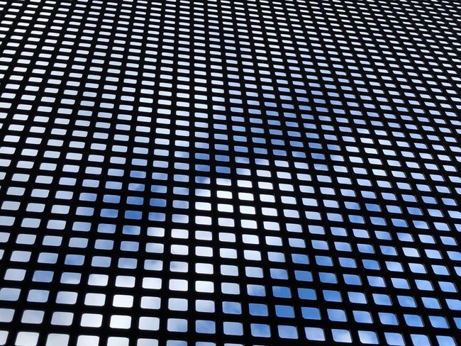 Wire Mesh Sky Cloud Backgrounds Pattern Full Frame Repetition No People Indoors  Textured  Close-up Design Grid Blue Shape In A Row Technology Abstract Grate Modern Conformity Metal Low Angle View