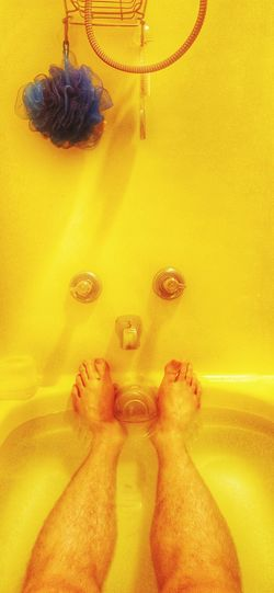 Bath time! Hot Bath Relaxing Enjoying Life Indoors  Yellow Shower Time Bath Time Long Legs Man Hairylegs  Hairy Legs  Stretching Candid Legsselfie