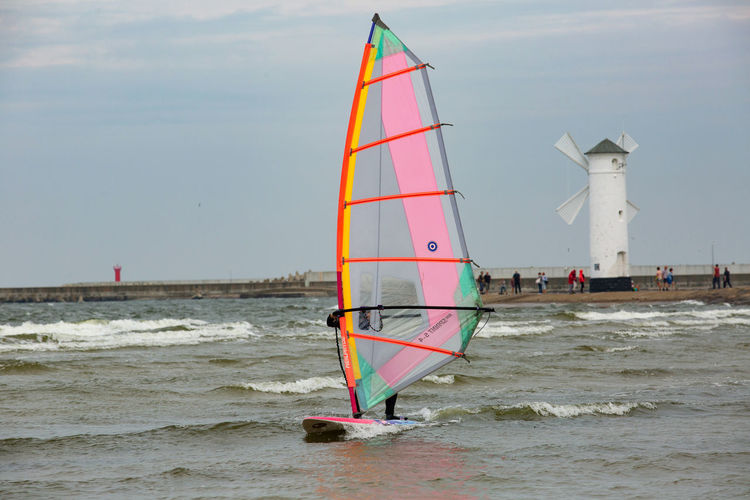 Baltic Sea Stawa Mlyny Adventure Aquatic Sport Beauty In Nature Day Horizon Over Water Incidental People Motion Nature Nautical Vessel Outdoors Real People Sailboat Scenics - Nature Sea Sky Sport Transportation Travel Water Waterfront Wave Windsurfing