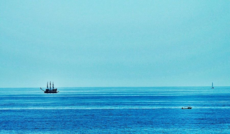 dear friends, do I need to say more? 😝 Summertime Blue Sea And Blue Sky No Clouds Blue Water Sailing Ship and Two Boats All Shades Of Blue Holidays On A Trip often no w-lan, but who cares 😎😜 Showcase July Colour Of Life Color Palette