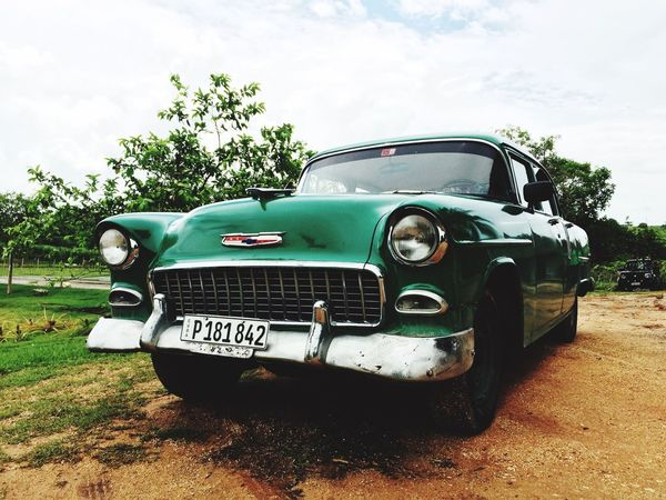 Cuba Cuba Collection Cuba Car Transportation Land Vehicle Mode Of Transport Car Front View Sky Day Cloud - Sky Green Color Outdoors The Past No People Been There.