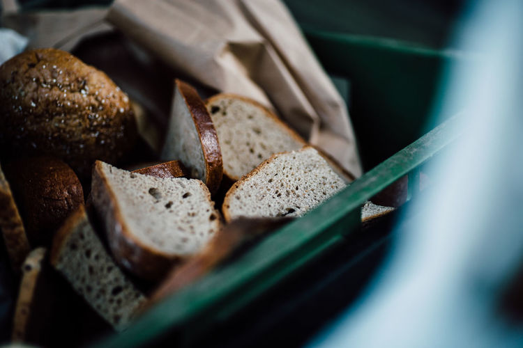 Selective Focus Food And Drink Food Bread Close-up Still Life Freshness Indoors  Healthy Eating No People Wellbeing Container Ready-to-eat SLICE High Angle View Brown Large Group Of Objects Brown Bread Meal Breakfast Carbohydrate - Food Type Snack
