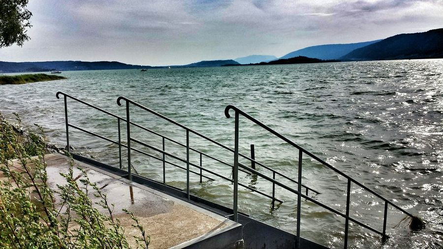 Summer Swimming Lake Bienne Switzerland Lake Stairs