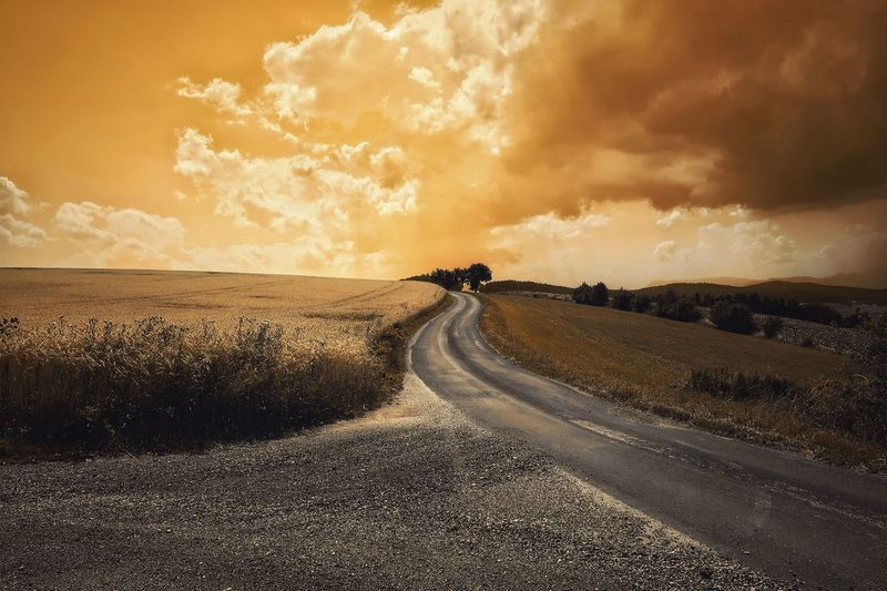 Road The Way Forward Sky Landscape Nature Tranquil Scene Beauty In Nature Cloud - Sky Tranquility Asphalt Daily Inspiration Capture The Moment Melancholic Landscapes Vienna Alps Austria A Photo Like A Painting Field No People